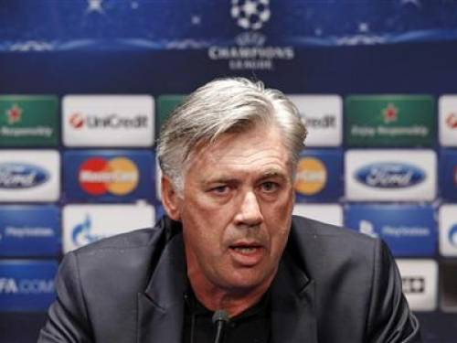 Paris St Germain's coach Carlo Ancelotti attends a news conference on the eve of their Champions League soccer match against Dynamo Kiev at the Parc des Princes stadium in Paris September 17, 2012. REUTERS/Benoit Tessier