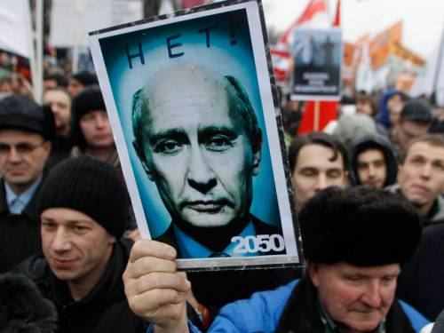 Chants of 'Russia without Putin' and 'We need another Russia' rang out at both events Saturday. (File: AAP)