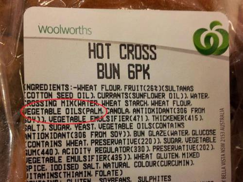 Both Woolworths and Coles home brands of hot cross buns contain palm oil.