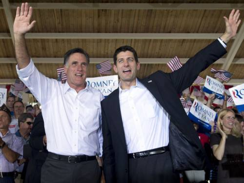 Republican presidential candidate Mitt Romney and his vice presidential running mate Paul Ryan. (Getty)