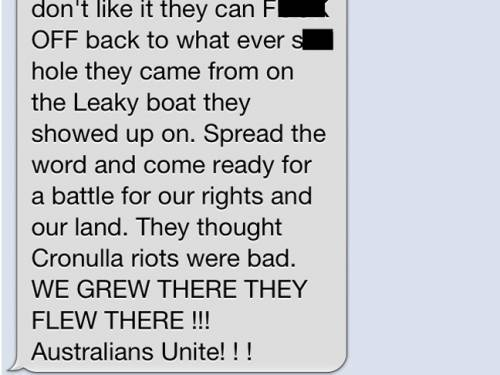 An SMS circulating in Melbourne calls for counter protests.