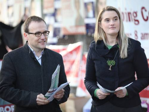 The Greens candidate for the Victorian state seat of Melbourne by-election, Cathy Oke and Fedral Greens member Adam Bandt. (AAP)