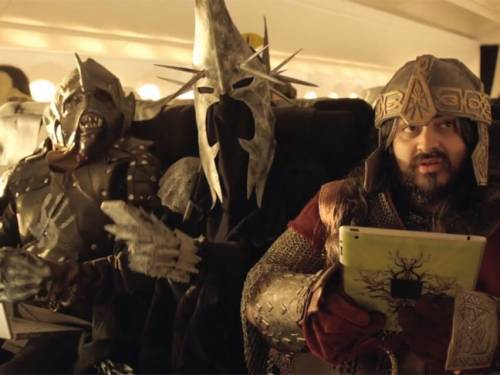 Characters from The Hobbit learn about airplane safety. (Air New Zealand)