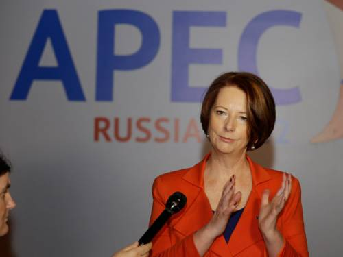 Julia Gillard has arrived at the APEC summit in Russia. (AAP)