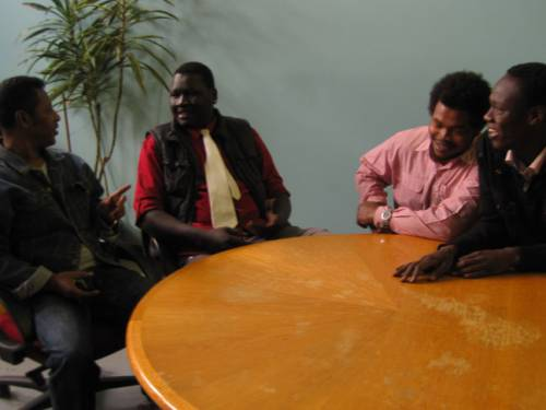 Members of the Sudanese Australian Youth Action Group meet in Melbourne. (photo by Kate Stowell)