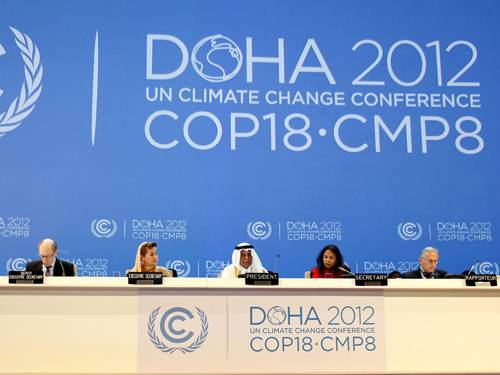 The UN Framework Convention on Climate Change (UNFCCC) and the 8th Meeting of the Parties to the Kyoto Protocol (CMP8) at the National Convention Centre, Doha, Qatar, 26 November 2012 (Photo: EPA)