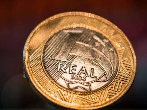 A close-up of a Brazilian one-real coin, at Bovespa stock exchange in Sao Paulo, Brazil. (Getty)
