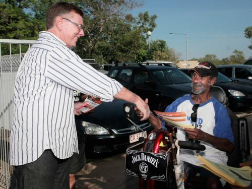 The CLP's Terry Mills on the campaign trail. Labor has conceded defeat, and PM Julia Gillard has congratulated Mills, who will now become the Northern Territory's new Chief Minister (AAP).