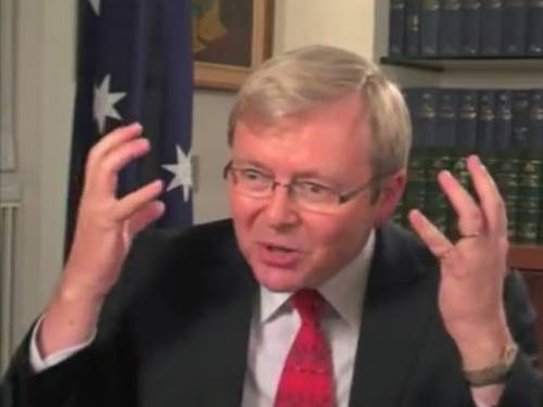 Kevin Rudd as he appears in the YouTube video. (YouTube)