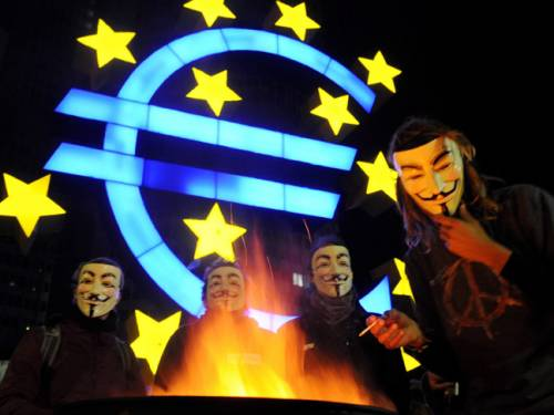 'Occupy' protesters at the ECB in Frankfurt. (Getty)