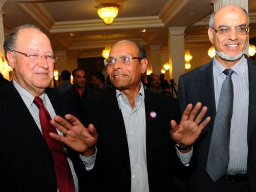 Mustapha Ben Jaafar of the Ettakatol party, Moncef Marzouki of the leftist Congress for the Republic Party and Hamadi Jebali of the moderate Islamist Ennahda party. (Getty)