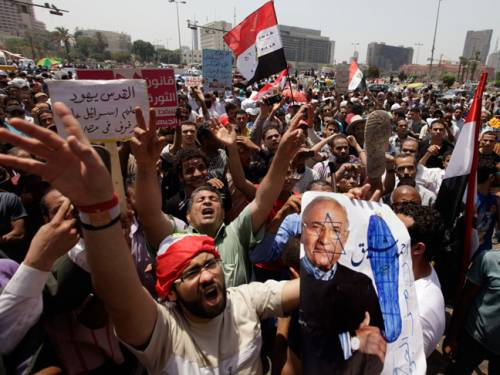 Egyptians protest against presidential candidate Ahmed Shafiq. (AAP)