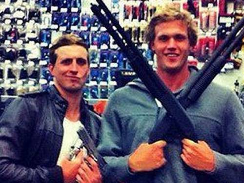 The Facebook photo of Nick D'Arcy and Kenrick Monk that attracted a barrage of criticism. (AAP)