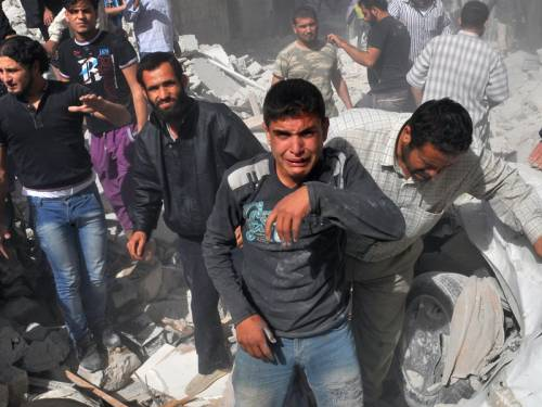 At least 44 people have been killed as Syrian fighter jets blasted the town of Maaret al-Numan. (AAP)