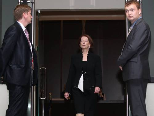 Prime Minister Julia Gillard has arrived in Adelaide to be with her family after her father's death. (AAP)