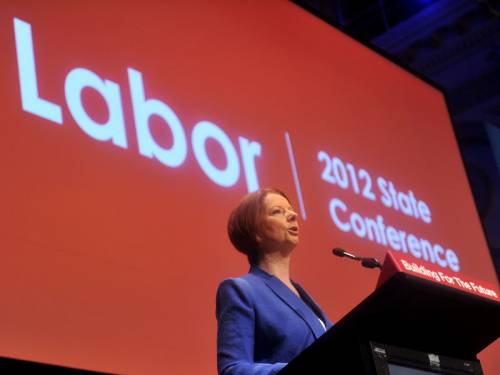 Prime Minister Julia Gillard has told the NSW Labor conference that she will not 'lie down and die'. (AAP)