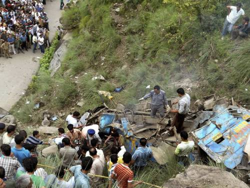 At least 52 people are dead and 45 injured after a bus plunged into a gorge in northern India. (AAP)