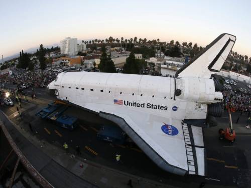 The space shuttle Endeavour reached its permanent home after a three day journey through LA. (AAP)