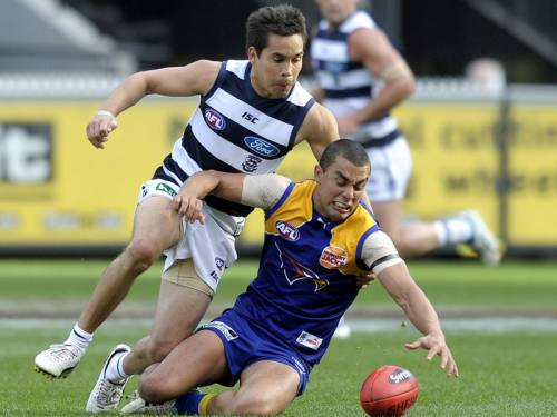 The top-four hopes of West Coast and Geelong will go on the line at Patersons Stadium on Friday. (AAP)