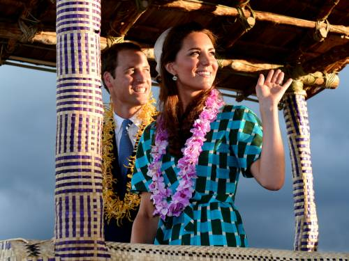 The young couple were again greeted by huge crowds as they landed in the capital Honiara. (AAP)