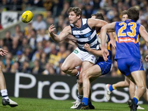 Geelong's Tom Hawkins was carried off the field injured as West Coast beat ...