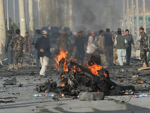 A suicide bomber killed 12 people in Afghanistan in a revenge attack for an anti-Islamic film. (AAP)