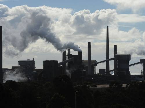 A fire has broken out at the Bluescope Steel plant in Wollongong, south of Sydney. (AAP)