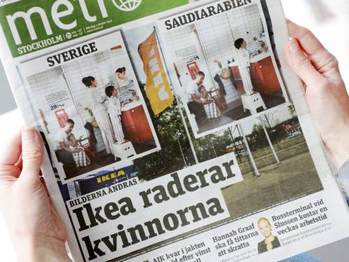 Ikea is under fire after women were airbrushed out of pictures in its Saudi Arabian catalogue. (AAP)