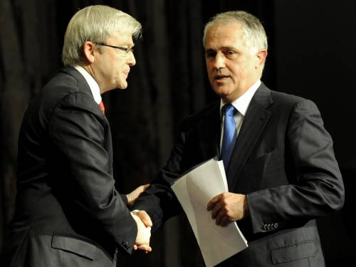 Kevin Rudd and Malcolm Turnbull, hold leads over Julia Gillard and Tony Abbott as preferred leaders. (AAP)