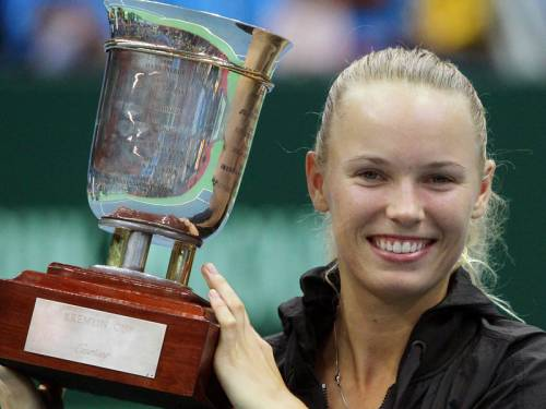 Former tennis world No.1 Caroline Wozniacki (pic) has defeated Sam Stosur to claim the Kremlin Cup. (AAP)