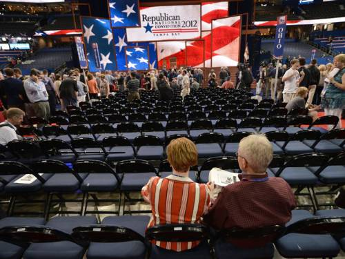 The Republican national convention has begun with a whimper in Tampa thanks to Tropical Storm Isaac. (AAP)