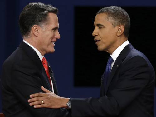 President Barack Obama and Republican rival Mitt Romney at the first debate. (AAP)