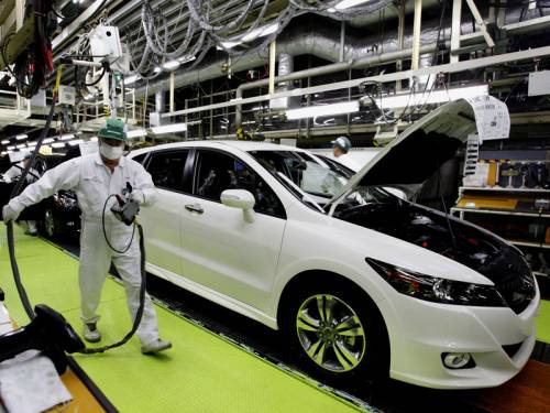 Japan's factory output unexpectedly fell 1.2 per cent in July, the industry ministry says. (AAP)