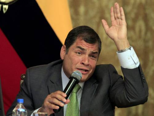 Ecuador's President Rafael Correa has blasted the UK for its 'contradictions' over Julian Assange. (AAP)