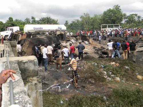 More than 100 people have died after a petrol tanker exploded into flames in Nigeria. (AAP)