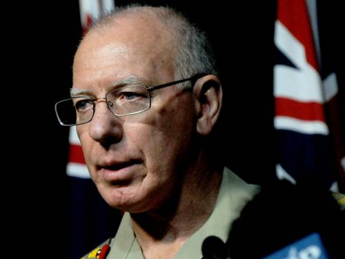 Australia's Defence boss David Hurley denies cuts to the defence budget will put soldiers at risk. (AAP)