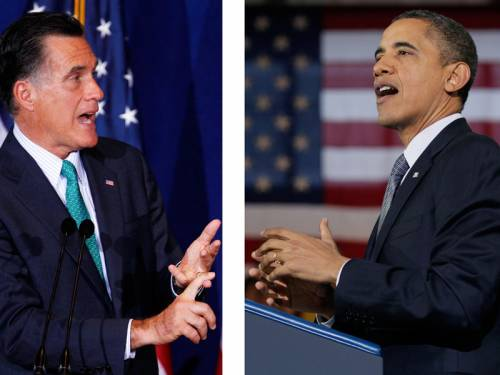 US President Obama and challenger Mitt Romney are campaigning in swing states over the weekend. (AAP)