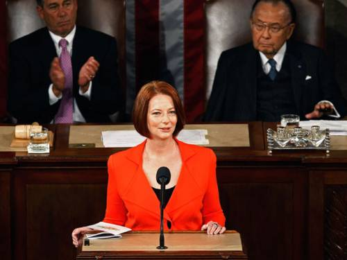 Julia Gillard received a warm reception in the US Congress. (AAP)