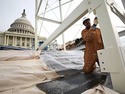 A special stage is constructed on the steps of the US Capitol in Washington for the inauguration ceremony