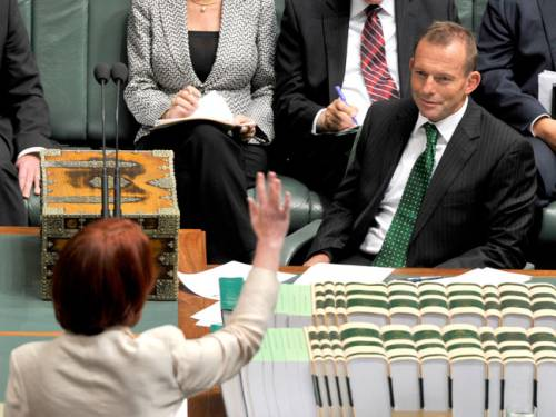 Tony Abbott said Gillard's alterations to the plan were the 'biggest surrender since Singapore'. (Getty)