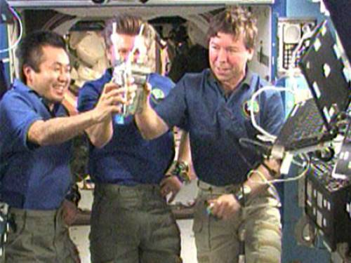 Astronauts had previously celebrated the success of the water recycler that transformed their urine into drinkable water (NASA)