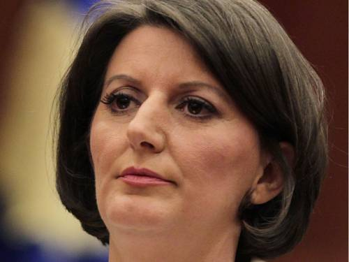 Atifete Jahjaga pledged to secure Kosovo in the European Union. (AAP)