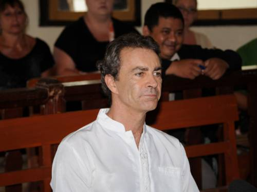 Edward Myatt attends his trial at a court in Denpasar, Bali accused of carrying  1.1 kg of hashish and 7 grams of methamphetamine (FILE Getty Images)