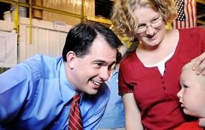 Wisconsin Govenor Scott Walker presses the flesh (AP)