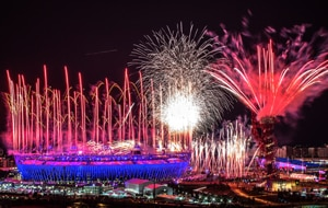 London lights up during the Olympic opening ceremony. (Getty)