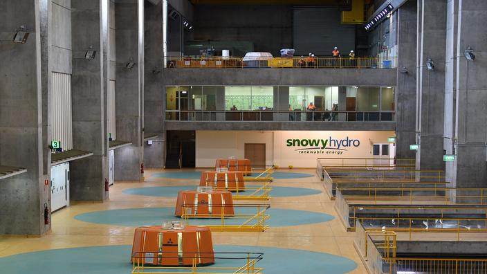 Internal view of the Tumut 3 power station at the Snowy Hydro Scheme in Talbingo
