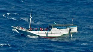 A photo of an asylum seeker boat released on July 4  by the Indonesian National Search And Rescue Agency