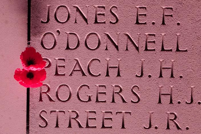 A flower left on a memorial to missing soldiers at Villers-Bretonneux