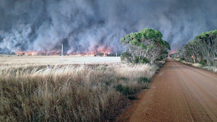 Fire front approaching a property in Scaddan, near Esperance, Western Australia on 17 November 2015