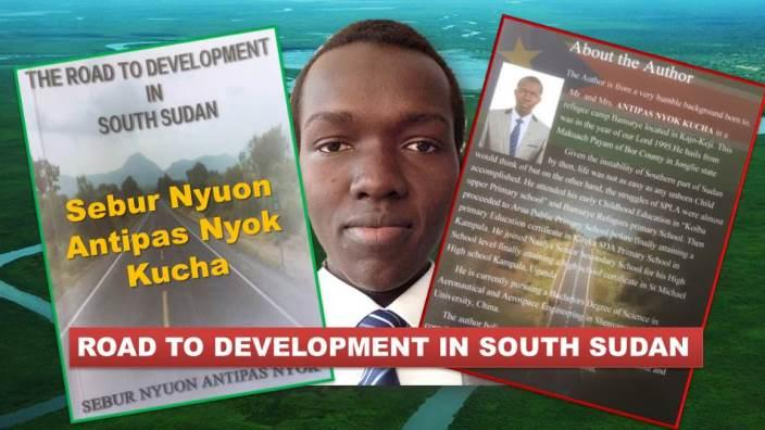 Author Sebur Nyuon with the cover a book